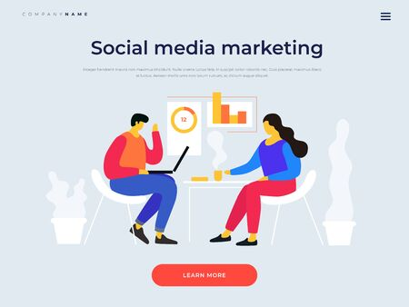 Title for website. Banner Joint work in company. Young people are working on planning concept of marketing strategy of project. Exchange of business ideas. Teamwork. Vector flat cartoon illustration. Illusztráció