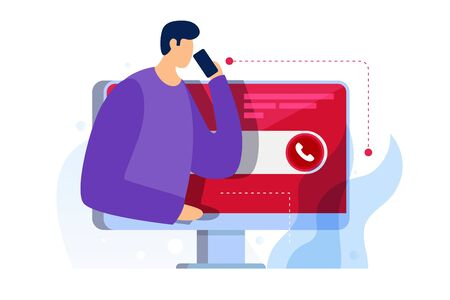 Cartoon young man is calling on mobile phone. Concept of online technical support for web page. Virtual Help Service. Call customer to the operator. Internet Assistant. Vector flat illustration.