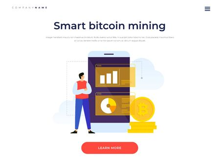 Title for website. Banner for investing in bitcoins and blockchain. Concept of tracking growth of crypto currency. Cartoon man looks at growth charts of bitcoins. Vector flat illustration.
