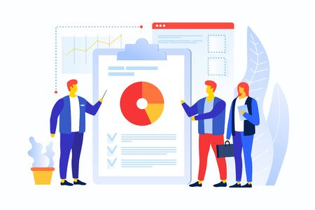 Cartoon people in the team are looking at the pie chart. The young man speaks with his colleagues. Workflow management and data analysis. Vocational training and education. Vector illustration. Illusztráció