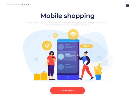 Landing page template. Concept of online payments, mobile shopping. Online shopping. Image of young girls at the screen of a smartphone shopping through a mobile application. Vector flat illustration.