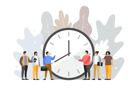 Concept of term and time. Deadline Cartoon young people stand around the dial of a large watch. Time management planning. Time is money. Vector flat illustration. Illusztráció
