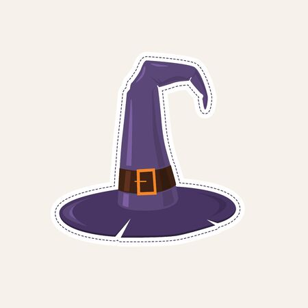 Sticker on themes of Halloween - witch hat. Vector cartoon Illustration. Illusztráció