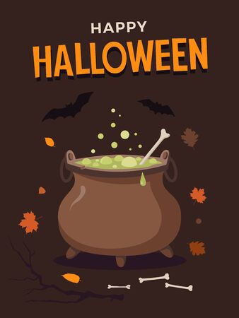 Halloween illustration. Brown pot witch boiling potion, bones, bats, and autumn leaves. Template for design of flyers, posters, greeting cards and banners. Illusztráció