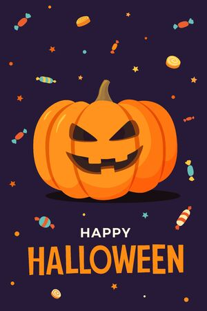 Happy Halloween Vector illustration pumpkin with smiling face on dark background, candy and lollipops. Template for design of flyers, posters, greeting cards and banners. Illusztráció