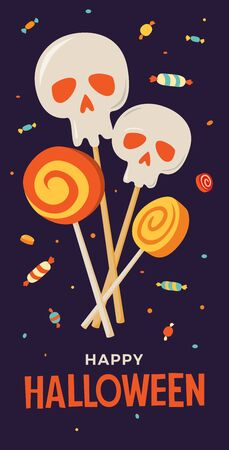Halloween illustration with image of sweets and lollipops. Cartoon skull and sweets for decoration of greeting cards, invitations, banners and flyers.