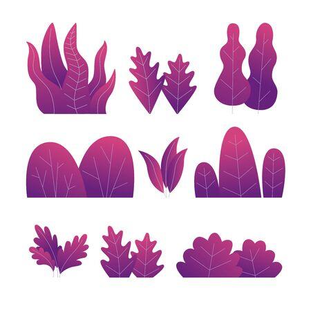 Set of purple plants. Different trees, bushes and leaves. Vector flat illustration. Illusztráció