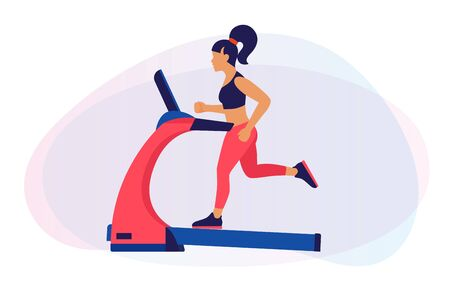 Theme of fitness, sport and training. An image of a cartoon girl on a treadmill. The concept of a healthy lifestyle. Cardio exercises on simulators. Vector flat illustration.