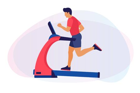 Theme of fitness, sport and training. An image of a cartoon man on a treadmill. The concept of a healthy lifestyle. Cardio exercises on simulators. Vector flat illustration. 일러스트