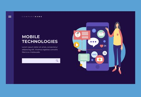 Homepage.Young woman with mobile phone and application icons. Concept of social networks and communication on Internet. Title for website. Vector illustration.