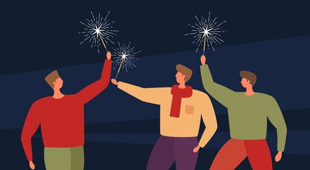 Image on the theme of the holiday and parties. Three young people with Bengal lights celebrate a joyful event. Vector illustration.
