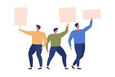 Group of activists are holding signs and postersin their hands. Demonstration of people protest. Men standing together with empty banners on strike. Vector flat illustration.