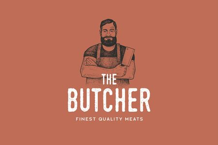 Hand drawing of man butcher in retro engraving style. Template of emblem or logo for grill restaurant, menu of steak house, for packaging in markets and in stores. Vector vintage illustration. Illusztráció