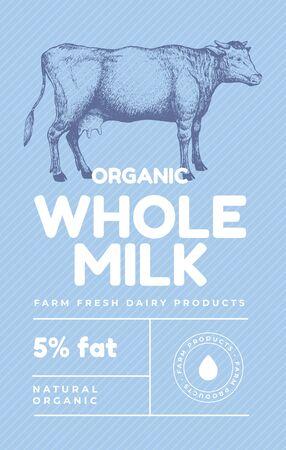 Handgezeichnete Kuh in der Technik der Gravur. Vorlage für Logo, Emblem im Vintage-Stil für Molkereien mit hochwertigen Lebensmitteln. Entwerfen Sie Milchprodukte für Bauernmärkte. Vektor-Retro-Illustration.