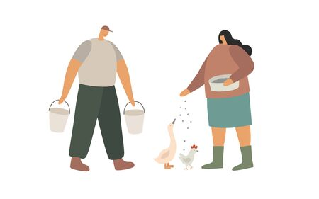 Scene from rural life. A man carries water in buckets, a woman feeds poultry. Work on the farm. Trendy flat vector illustration.