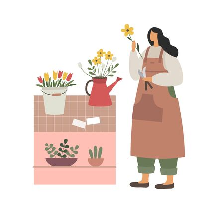 The girl makes a bouquet of flowers. Florist works in his shop. A young woman at the counter, draws up flower arrangements. Vector illustration in trendy flat style. Illustration