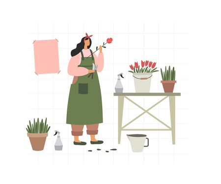 The girl collects bouquets in flower shop. Florist sells flowers and home ornamental plants. Young woman at counter, draws up flower arrangements. Vector illustration in trendy flat style.