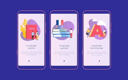 Set of onboarding screens for mobile apps. Banners with people learning foreign languages. The concept of international communication. Mobile UI UX app interface template. Vector illustration. Illusztráció
