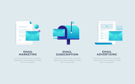 Modern interface for e-mailing. Template for smartphone or Mobile Apps. Mail envelopes, mailbox and letters on light background. Modern interface UI, UX and GUI Screens. Flat vector illustration.