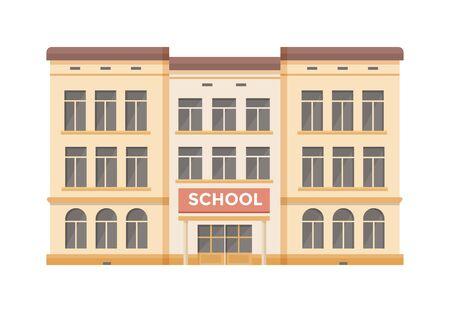 Facade of three-story school building on white background. Vector illustration. Illusztráció