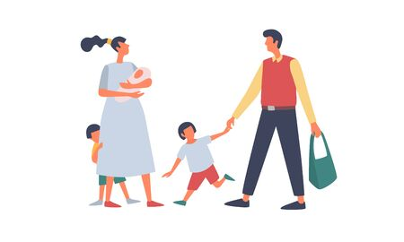 The concept of family and childhood. Happy young parents with young children. Caring mother and father for the children. Vector flat illustration on isolated white background.
