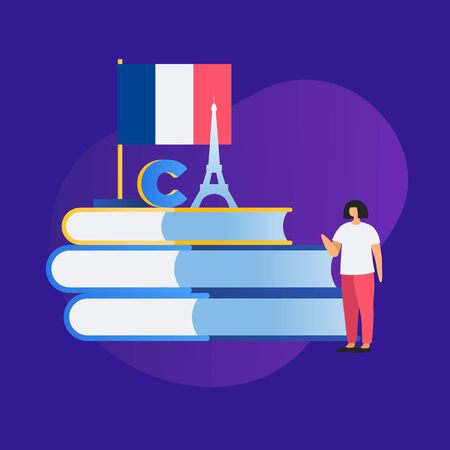 The concept of education and learning a foreign language. Image of a girl student, the French flag, books and the silhouette of the Eiffel Tower. Vector illustration on blue background.