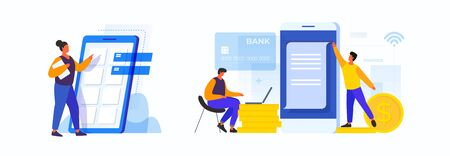 Concept of developing mobile applications. Woman in the process of building smartphone interface. Concept of electronic payments. Men make payment using mobile applications online. Digital bill. Illusztráció