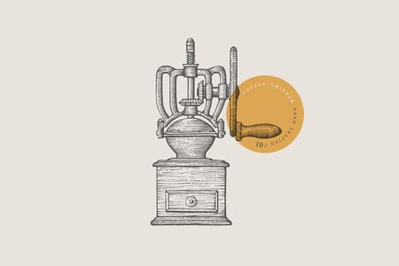 Image of a vintage manual coffee grinder, drawn by graphic lines on a light background. Can be used in the design of cafes and restaurants. Vector illustration in engraving style. 向量圖像