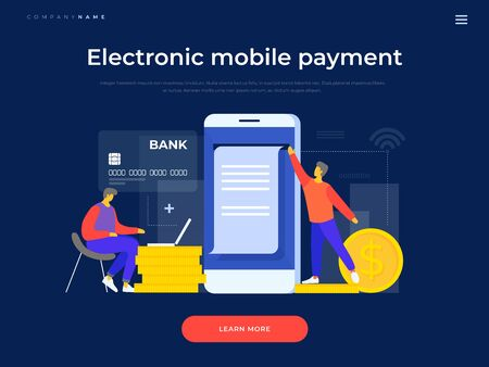 Young cartoon men make a payment using mobile applications on the background of a bank card and coins. The concept of electronic payments. Landing page template. Vector flat illustration. Vecteurs
