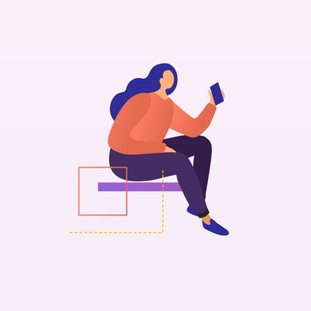 The girl sitting with a mobile phone. The concept of mobile communication. Vector illustration