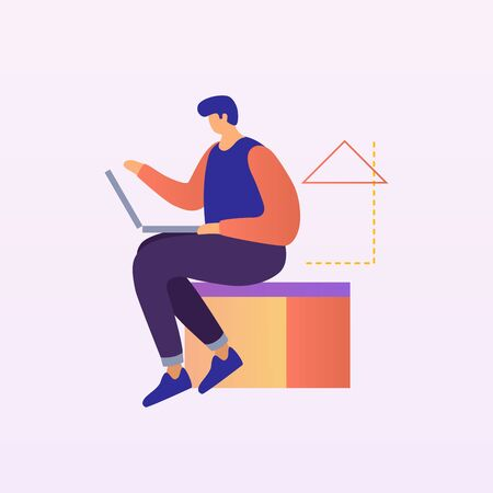 Young man working at a laptop. The concept of modern digital technology. Vector illustration.