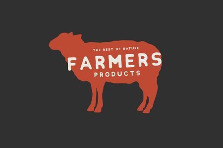 Logo template with the image of a red silhouette of a sheep and the inscription farm produt. Emblem for butcher shops, markets, packaging and advertising. Vector illustration on dark background. Illusztráció