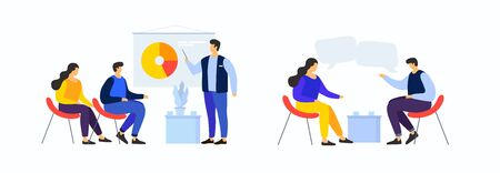 Cartoon people in team are looking at pie chart. Workflow management, data analysis and training. People discuss business strategy, joint project. Meeting business people. Vector flat illustration.