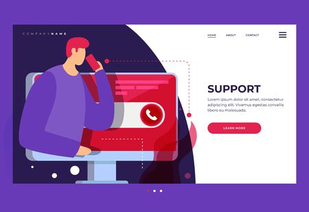 Landing page for stylish website. Concept of online technical support for web page. Virtual Help Service. Call the customer to the operator. Internet Assistant. Vector flat cartoon illustration.