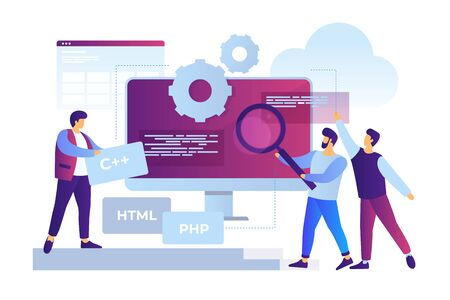 Concept of software development and applications. Team of young cartoon staff is working on programming site. Cooperation in web agency. Vector flat illustration.