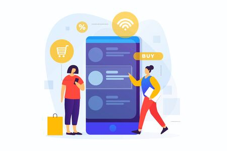 Concept of online payments, mobile shopping. Online shopping. Image of young girls at the screen of a smartphone shopping through a mobile application. Vector flat illustration.