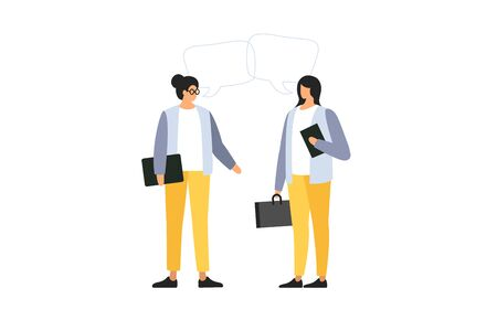 Young womens talk to each other, discuss news, social networks. People with dialogue speech bubbles on light background. Concept of communication. Meeting business people. Vector flat illustration. Illusztráció