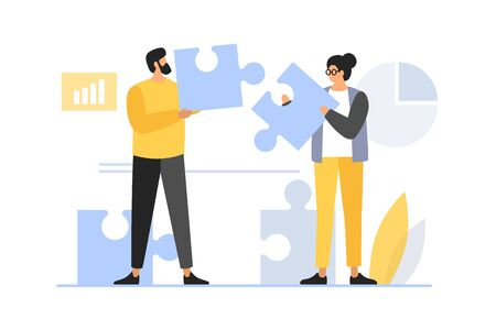 Concept of teamwork, building working system. The man and woman collects puzzles. Solution of business problems. Vector flat illustration.
