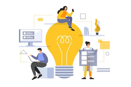 People in team are working on common project. Young cartoon employees are looking for new solutions. Brainstorming in teamwork. Vector flat illustration. Illusztráció