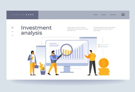 Landing page template. Investment analysis concept. Analysis of financial data. People on team are looking at growing graphs of cash investments. Vector flat illustration.