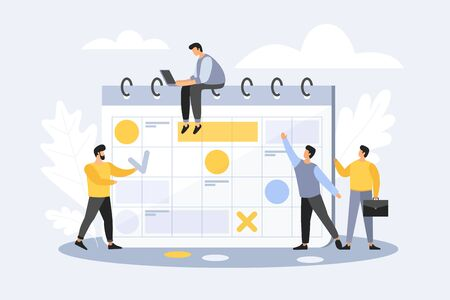 Team of young businessmen in cartoon style mark important dates in the calendar. The concept of exact timing ending of project. Advanced planning. Deadline Vector flat illustration.