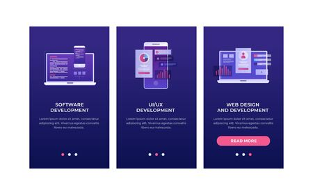 Bundle of vertical web banner templates. Smartphone and laptop with interface elements. Concept of development a mobile UI / UX interface. Mobile app. Flat Design Oneboarding Concepts. Stok Fotoğraf - 131958088