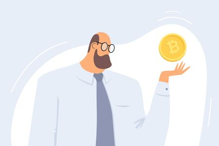 Concept of investing in Cryptocurrency and Blockchain. A man holds a bitcoin symbol over his hand. Investments in future earnings in the stock market. Vector flat illustration. Ilustração