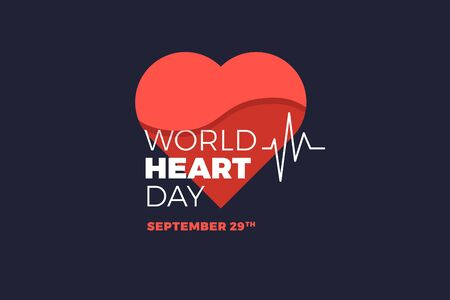Emblem of World Heart Day with image of red heart on dark background. Medical sign on 29th of September. Vector illustration.