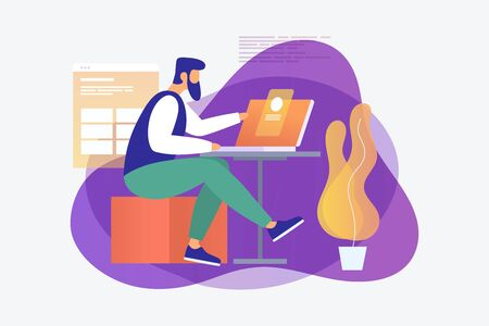 A young programmer is working on a project behind a laptop in the office. The concept of modern digital technology. Vector illustration.
