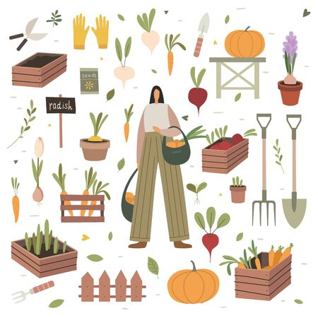 Girl holds bags of purchased vegetables at a farmers market. The theme of vegetarianism and healthy eating. Set of items on the agricultural theme: boxes and pots with plants, shoes and garden tools. Illustration