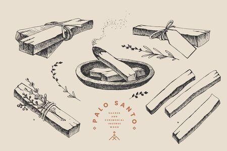 Set di bastoncini disegnati a mano dell'albero sacro del Palo Santo, fumanti con aroma e fasciati con erbe. Incenso latinoamericano da meditazione. Legno di incenso sacro e cerimoniale. Illustrazione vettoriale.