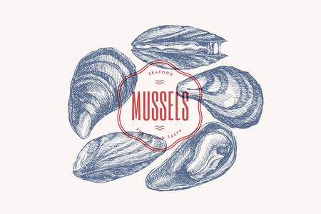 Hand-drawn set of mussels in different foreshortening vector illustration. Seashells in engraving style on a light background. Seafood. The menu design element of a fish restaurant, market or store. Illustration