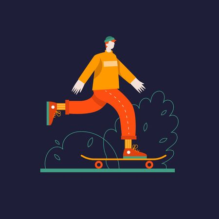 Young guy skates on a skateboard vector flat illustration. Modern sports and entertainment. Leisure and active holidays.