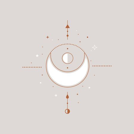 Mystical composition with a white crescent, arrows, stars vector illustration. Ethnic magic and astrological symbols in the style of Boho. Magical signs in a trendy linear style.